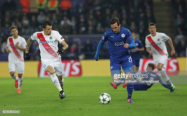 Leicester City's Christian Fuchs during the UEFA Champions League match between Leicester City FC and Club Brugge KV at The King Power Stadium on...