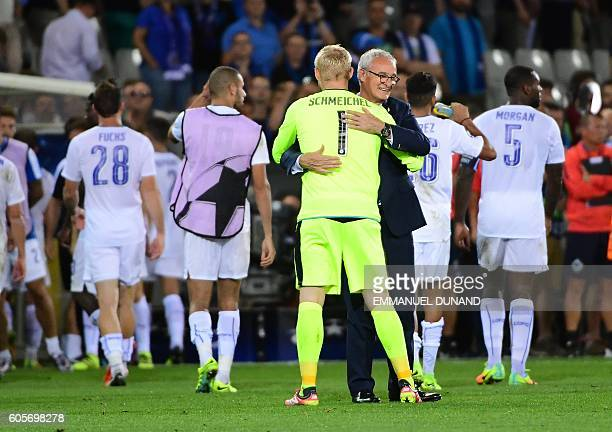 Leicester City's coach Claudio Ranieri celebrates at the end of the UEFA Champions League football match between Club Brugge and Leicester City at...
