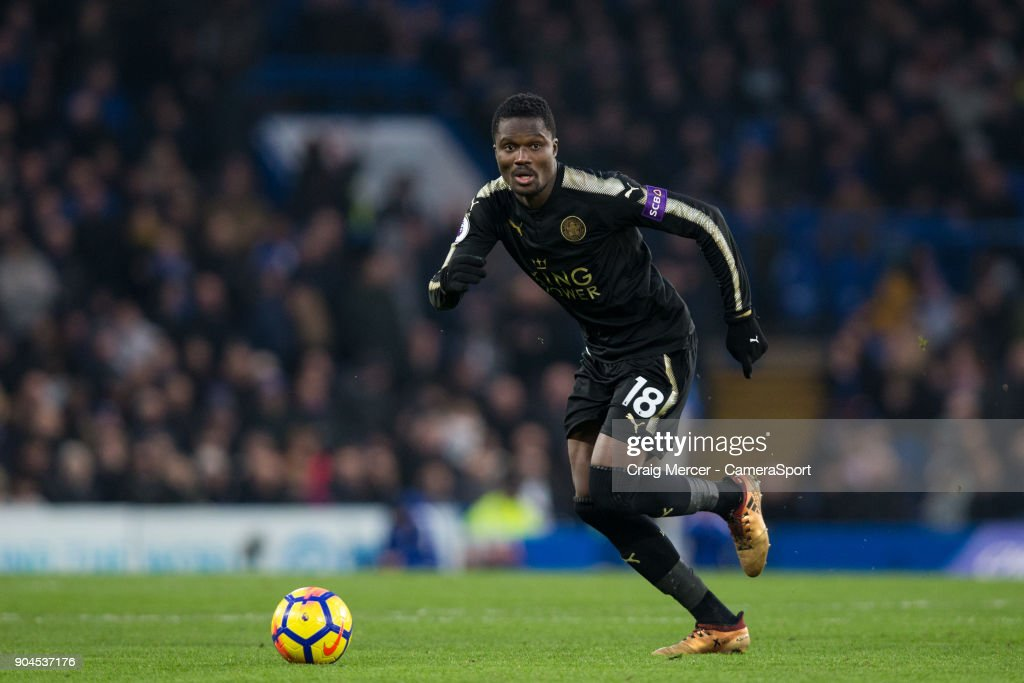 Leicester City's Daniel Amartey in action during the Premier League match between Chelsea and Leicester City at Stamford Bridge on January 13, 2018 in London, England.