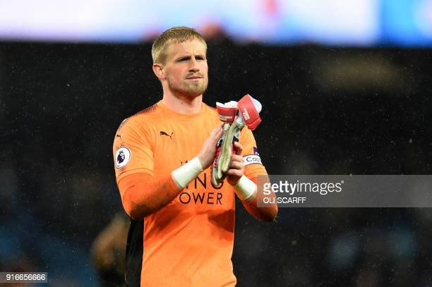Leicester City's Danish goalkeeper Kasper Schmeichel gesture after the English Premier League football match between Manchester City and Leicester...