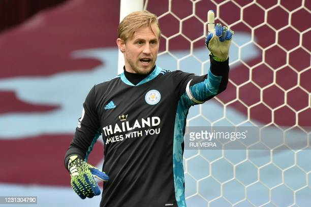 Leicester City's Danish goalkeeper Kasper Schmeichel gestures during the English Premier League football match between Aston Villa and Leicester City...