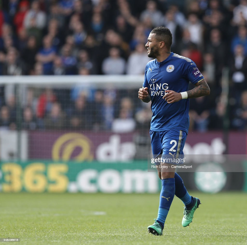 Leicester City's Danny Simpson during the Premier League match between Burnley and Leicester City at Turf Moor on April 14, 2018 in Burnley, England.