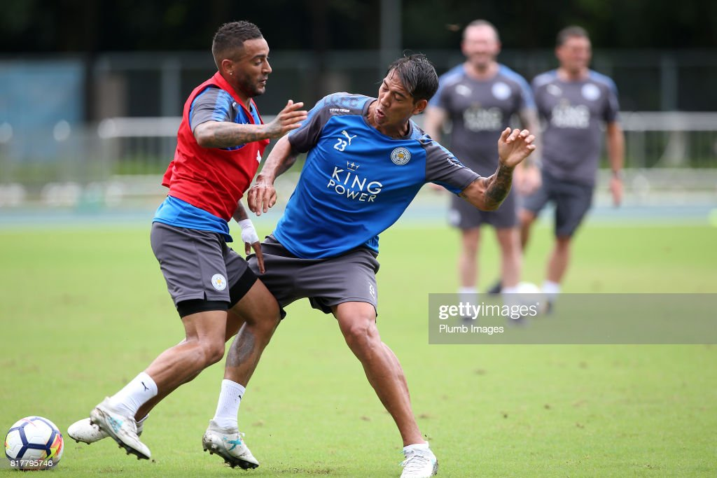 Leicester City's Danny Simpson with Leo Ulloa trains in the Hong Kong heat ahead of the Premier League Asia Trophy on July 18th , 2017 in Hong Kong, Hong Kong.