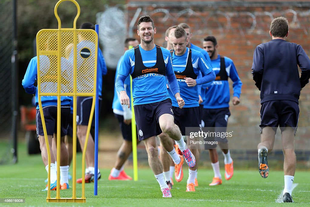 Leicester City's David Nugent during the Leicester City training session at Belvoir Drive Training Ground on October 2, 2014 in Leicester, England.