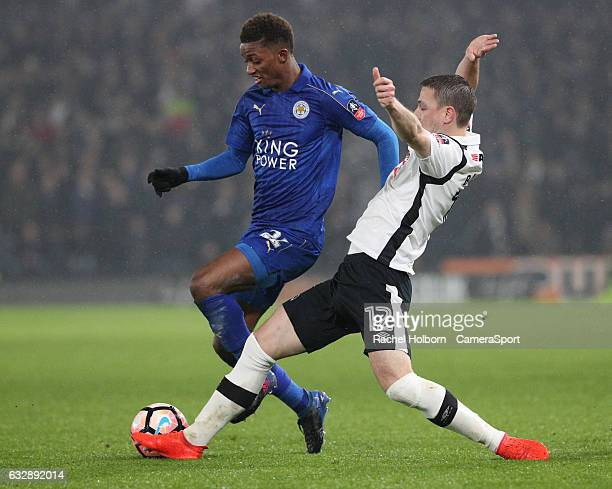 Leicester City's Demarai Gray and Derby County's Chris Baird during the Emirates FA Cup Fourth Round match between Derby County and Leicester City at...