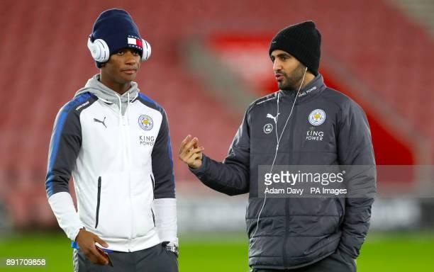 Leicester City's Demarai Gray and Leicester City's Riyad Mahrez ahead of the Premier League match at St Mary's Stadium Southampton