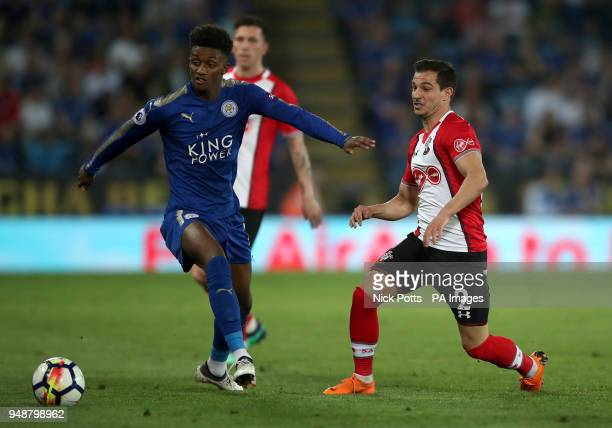 Leicester City's Demarai Gray and Southampton's Cedric Soares battle for the ball during the Premier League match at the King Power Stadium Leicester