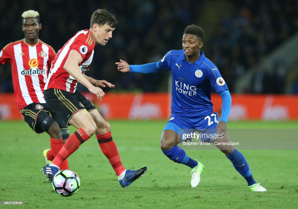Leicester City's Demarai Gray and Sunderland's Billy Jones during the Premier League match between Leicester City and Sunderland at The King Power Stadium on April 4, 2017 in Leicester, England.