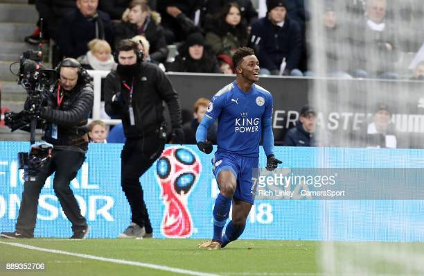 Leicester City's Demarai Gray celebrates scoring his side's second goal during the Premier League match between Newcastle United and Leicester City...