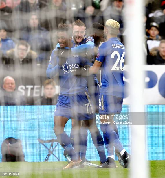 Leicester City's Demarai Gray celebrates with team mates Jamie Vardy and Riyad Mahrez after scoring his side's second goal during the Premier League...