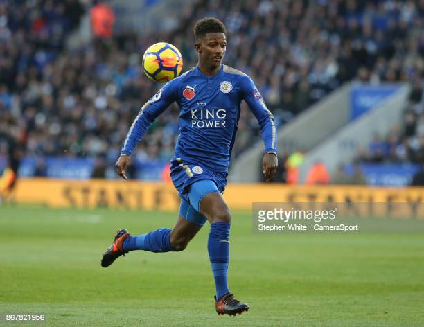 Leicester City's Demarai Gray during the Premier League match between Leicester City and Everton at The King Power Stadium on October 29 2017 in...