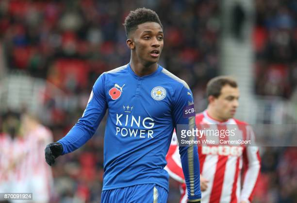Leicester City's Demarai Gray during the Premier League match between Stoke City and Leicester City at Bet365 Stadium on November 4 2017 in Stoke on...
