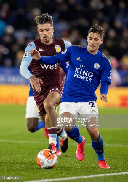 Leicester City's Dennis Praet competing with Aston Villa's Jack Grealish during the Premier League match between Leicester City and Aston Villa at...