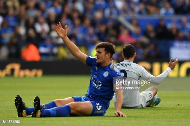 Leicester City's English defender Harry Maguire and Chelsea's Spanish striker Alvaro Morata clash during the English Premier League football match...