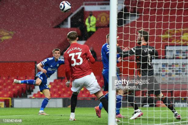 Leicester City's English defender Luke Thomas scores the opening goal of the English Premier League football match between Manchester United and...