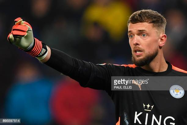 Leicester City's English goalkeeper Ben Hamer gestures to his defence during the English League Cup quarterfinal football match between Leicester...