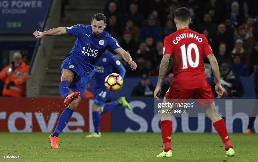 Leicester City's English midfielder Danny Drinkwater (L) shoots to score their second goal during the English Premier League football match between Leicester City and Liverpool at King Power Stadium in Leicester, central England on February 27, 2017. / AFP / ADRIAN DENNIS / RESTRICTED TO EDITORIAL USE. No use with unauthorized audio, video, data, fixture lists, club/league logos or 'live' services. Online in-match use limited to 75 images, no video emulation. No use in betting, games or single club/league/player publications. /