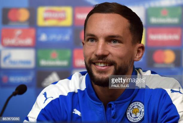 Leicester City's English midfielder Danny Drinkwater speaks during a press conference at The King Power stadium in Leicester central England on March...