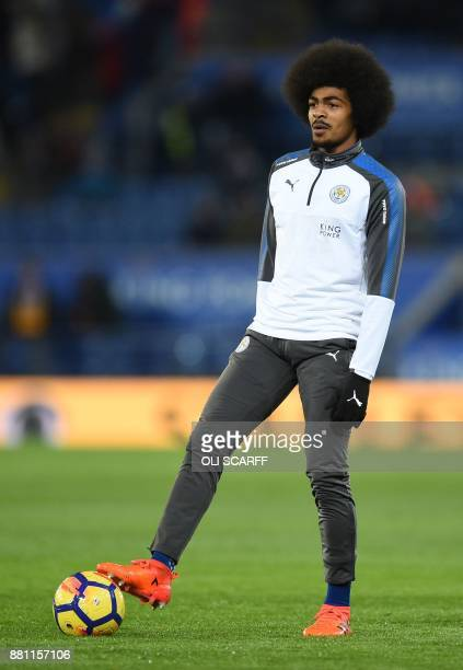 Leicester City's English midfielder Hamza Choudhury warms up before the English Premier League football match between Leicester City and Tottenham...