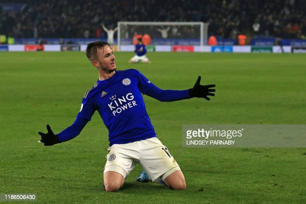 TOPSHOT Leicester City's English midfielder James Maddison celebrates after scoring their second goal during the English Premier League football...