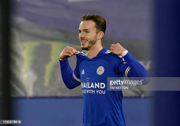 Leicester City's English midfielder James Maddison celebrates scoring his team's second goal during the English Premier League football match between...