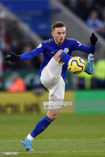 Leicester City's English midfielder James Maddison controls the ball during the English Premier League football match between Leicester City and...