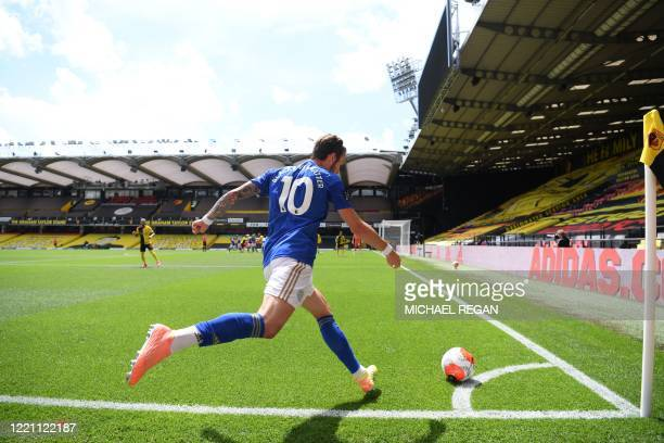 Leicester City's English midfielder James Maddison takes a corner during the English Premier League football match between Watford and Leicester City...