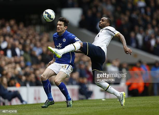 Leicester City's English striker David Nugent vies with Tottenham Hotspur's English defender Danny Rose during the English Premier League football...