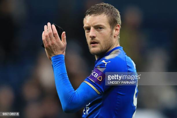 Leicester City's English striker Jamie Vardy applauds the fans following the English Premier League football match between West Bromwich Albion and...