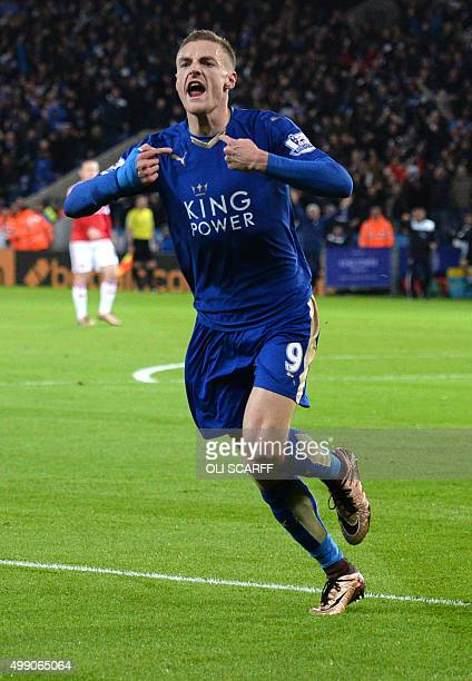 Leicester City's English striker Jamie Vardy celebrates after scoring during the English Premier League football match between Leicester City and...