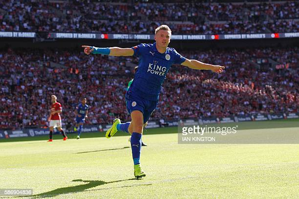 Leicester City's English striker Jamie Vardy celebrates scoring an equalising goal for 11 during the FA Community Shield football match between...