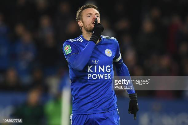 Leicester City's English striker Jamie Vardy celebrates scoring his penalty during the rescheduled English League fourth round football match between...