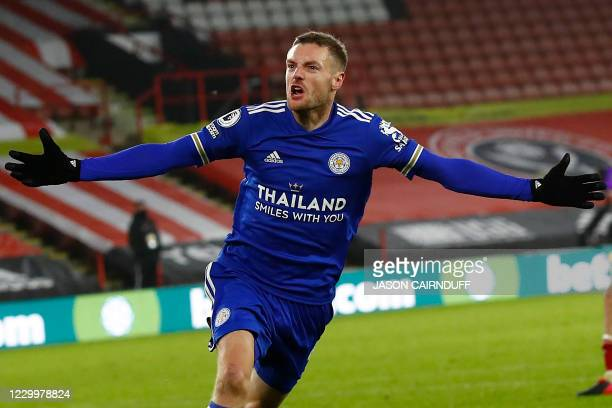 Leicester City's English striker Jamie Vardy celebrates scoring his team's second goal during the English Premier League football match between...