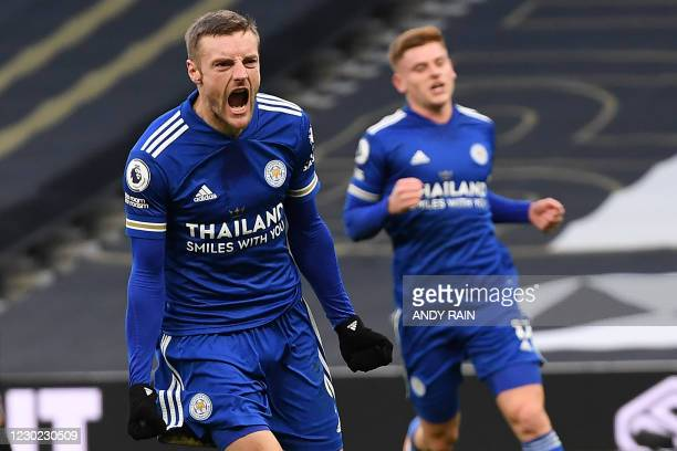 Leicester City's English striker Jamie Vardy celebrates scoring his team's first goal during the English Premier League football match between...