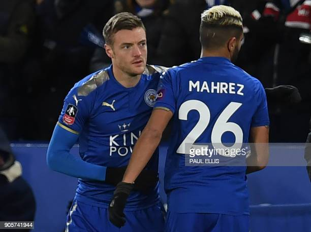 Leicester City's English striker Jamie Vardy comes on as substitute for Leicester City's Algerian midfielder Riyad Mahrez during the English FA Cup...