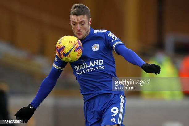 Leicester City's English striker Jamie Vardy controls the ball during the English Premier League football match between Wolverhampton Wanderers and...