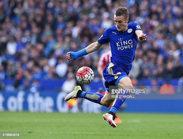 Leicester City's English striker Jamie Vardy controls the ball during the English Premier League football match between Leicester City and...