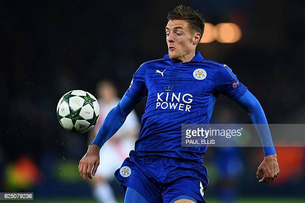 Leicester City's English striker Jamie Vardy controls the ball during the UEFA Champions League group G football match between Leicester City and...
