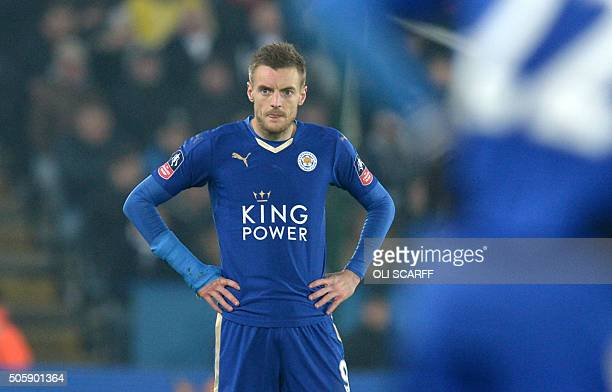 Leicester City's English striker Jamie Vardy gestures during the English FA Cup third round replay football match between Leicester City v Tottenham...