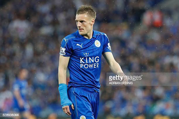 Leicester City's English striker Jamie Vardy looks on during the English Premier League football match between Leicester City and Everton at King...