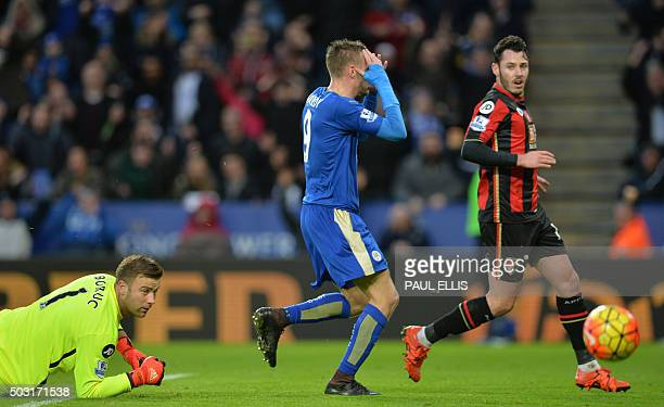Leicester City's English striker Jamie Vardy reacts after hitting the post during the English Premier League football match between Leicester City...