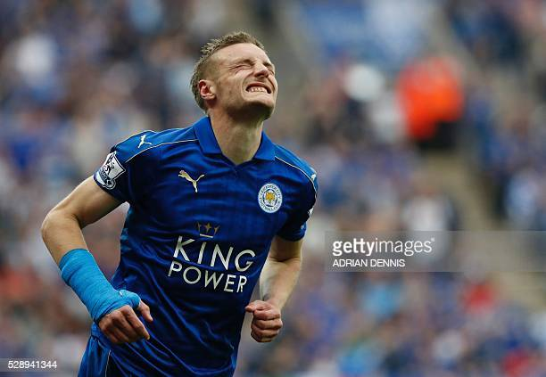 Leicester City's English striker Jamie Vardy reacts after missing a shot on goal during the English Premier League football match between Leicester...