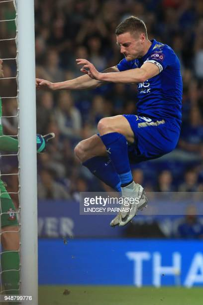 Leicester City's English striker Jamie Vardy reacts after missing a chance during the English Premier League football match between Leicester City...