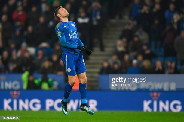 Leicester City's English striker Jamie Vardy reacts after missing his penalty in the penalty shoot out after extra time in the English League Cup...