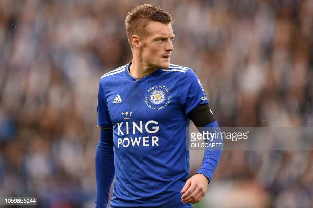 Leicester City's English striker Jamie Vardy reacts during the English Premier League football match between Leicester City and Burnley at King Power...