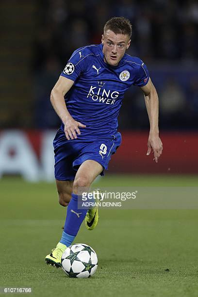 Leicester City's English striker Jamie Vardy runs with the ball during the UEFA Champions League group G football match between Leicester City and...