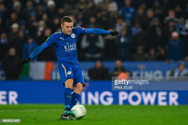 Leicester City's English striker Jamie Vardy sends his penalty wide in the penalty shoot out after extra time in the English League Cup quarterfinal...