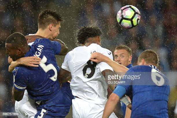 TOPSHOT Leicester City's English striker Jamie Vardy watches the ball from a corner during the English Premier League football match between...