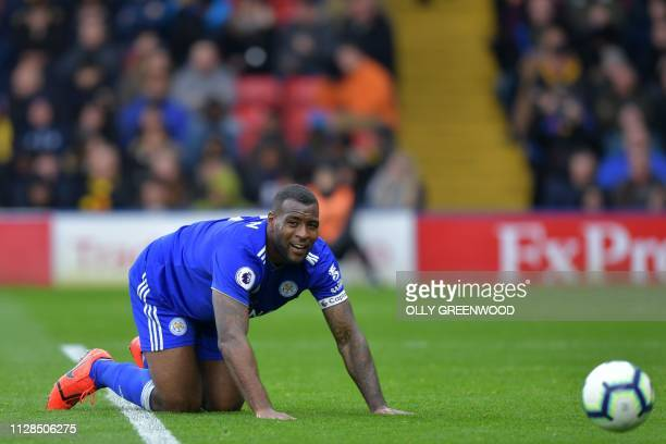 Leicester City's Englishborn Jamaican defender Wes Morgan reacts during the English Premier League football match between Watford and Leicester City...