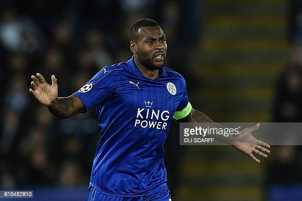 Leicester City's Englishborn Jamaican defender Wes Morgan reacts during the UEFA Champions League group G football match between Leicester City and...
